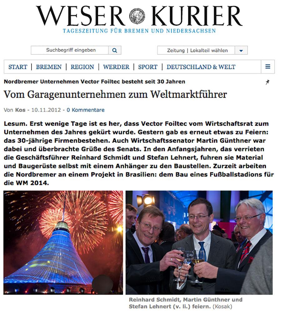 Vector Foiltec Jubiläumsartikel im Weser Kurier | © fotografie-kairies-kosak.de