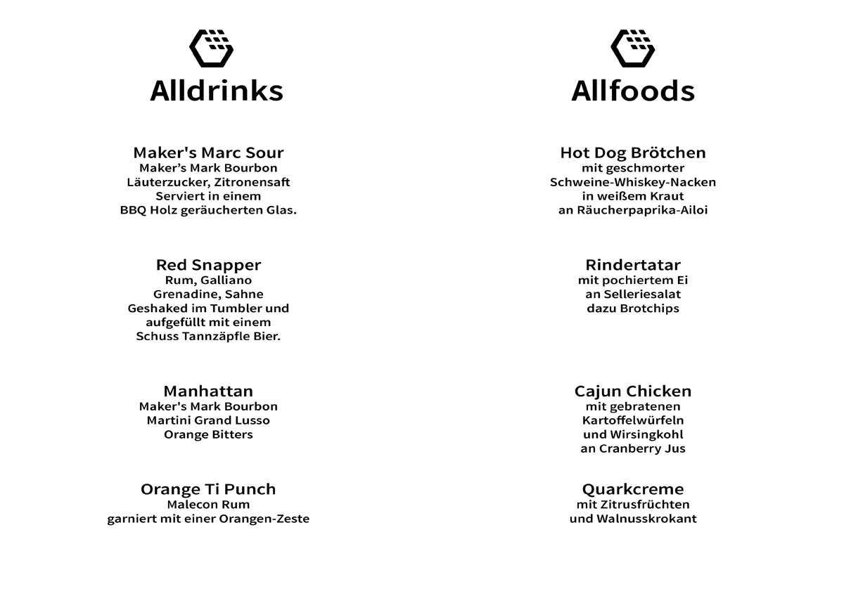 MENU - Allthings Teamevent @ BRYK Bar